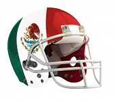 stock photo of football helmet  - Flagged Mexico American football helmet isolated on a white background with detailed clipping path - JPG