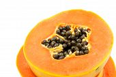 picture of pawpaw  - A Ripe papaya isolated on white background - JPG
