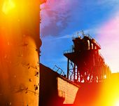 picture of fragmentation  - fragments of old industrial equipment blurred background - JPG