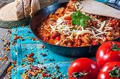 pic of chillies  - Chilli con carne with cheese and parsley - JPG