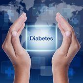 image of diabetes  - diabetes word on screen background - JPG