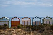image of beach hut  - Colorful beach huts in good weather. 