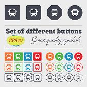 stock photo of bus driver  - Bus icon sign Big set of colorful diverse high - JPG
