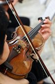 stock photo of violin  - Women Violinist Playing Classical Violin Music in Musical Performance - JPG
