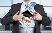 pic of graduation  - Young student is tearing the shirt - JPG