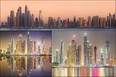 pic of dubai  - Collage of the beauty panorama at Dubai marina - JPG