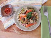 image of aubergines  - Salad with fried aubergines chick peas and tomatoes - JPG