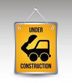 stock photo of excavator  - excavator cartoon over gray background - JPG