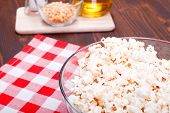pic of popcorn  - popcorn and ingredients cooking popcorn top view - JPG