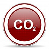 picture of carbon-dioxide  - carbon dioxide red glossy web icon