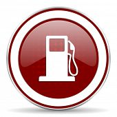 stock photo of petrol  - petrol red glossy web icon