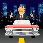 pic of handgun  - illustration of brutal gangster with handgun driving in car through the city at night - JPG