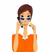 pic of secretary  - illustration of cartoon secretary talking on phone holding pencil in her hand - JPG