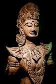 stock photo of carving  - Abstract Cambodia wood carving art in Thailand - JPG