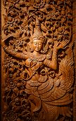 stock photo of carving  - wood carving art  in temple of Thailand - JPG