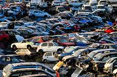 picture of junk-yard  - Scrap Yard With Pile Of Crushed Cars in tenerife canary islands spain - JPG