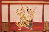 foto of courtier  - Man and woman dancing in Thai style - JPG