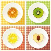 image of cross-section  - Set Of Fruit Cross Section - JPG