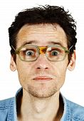 Amusing Tousled Man In Old Ridiculous Spectacles
