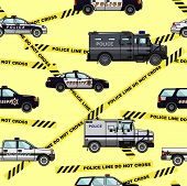 image of armored car  - Detailed seamless background with police cars in a flat style - JPG