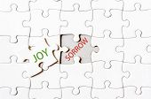 picture of sorrow  - Missing jigsaw puzzle piece with word JOY covering text SORROW - JPG