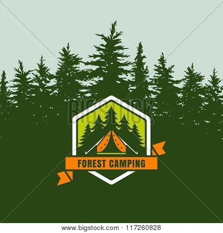 Forest Camping Logo Emblem Or Label On Background With Green Fir-trees Forest.