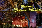 Постер, плакат: Bucharest Romania December 25: Bucharest Christmas Market On December 25 2015 In Bucharest Hori