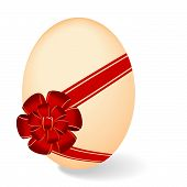 Realistic Illustration By Easter Egg With Red Bow