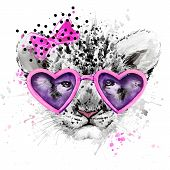 Постер, плакат: Lion cub Lion T shirt graphics watercolor Lion cub illustration watercolor cute Lion cub for fas