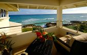 stock photo of villa  - sea view from terrace of luxury villa - JPG