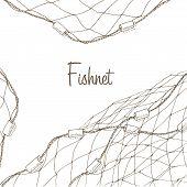 Fishing net background poster