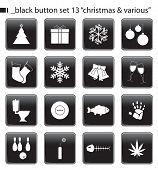 Постер, плакат: Черные кнопки задать 13 «Рождество & различных»