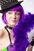 stock photo of fantail  - Young disco girl with pinc hair and fantail - JPG