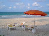 Deck Chairs At Beach At Bintan Indonesia