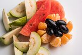 fruit salad or cut fruits, Diet, healthy fruit salad in the white bowl - healthy breakfast, weight l poster