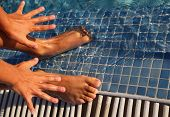 stock photo of splayed  - Splayed fingers and toes are put in water at swimming - JPG