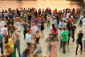 People Dance On Frunzenskaya Embankment Near Water, Petrovsky Park Organisation