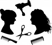 Silhouettes for a hairdressing salon
