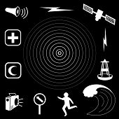 Tsunami Icons, Black Background