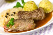 Beef Roulade with Dumplings,Cabbage (Sauerkraut) and Sauce
