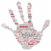 Conceptual human rights political freedom, democracy hand print stamp word cloud isolated background poster