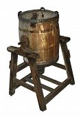 Antique Wooden Butter Churn (Isolation On White)