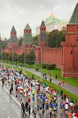 MOSCOW, RUSSIA - SEPTEMBER 12: Top view of running people on Kremlin embankment in XXX Moscow Intern