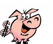 Hand-drawn Vector Illustration Of An Dollar Pig