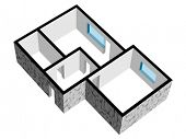 vector 3d house floor plan with stone texture