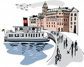 Stockholm harbour illustration