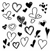 Hand Drawn Hearts Set Isolated. Design Elements For Valentines Day. Collection Of Doodle Sketch Hea poster
