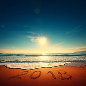 Happy New Year 2018 Concept, Lettering On The Beach. Sea Sunrise poster