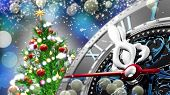New Years at midnight - Old clock with stars snowflakes and holiday lights. 3d rendering poster