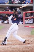Binghamton Mets batter Brahiam Maldonado swings at a pitch in a game against the Portland Sea Dogs